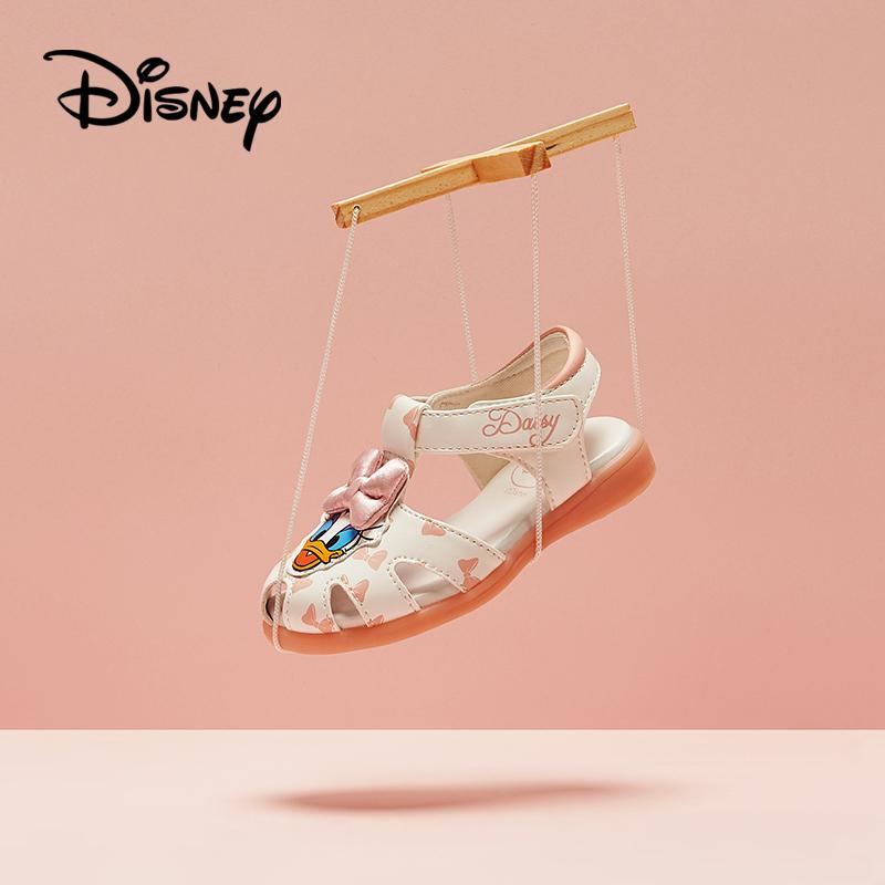鞋柜童鞋2018夏季新款小童女童迪士尼包头凉鞋魔术贴儿童闪灯鞋