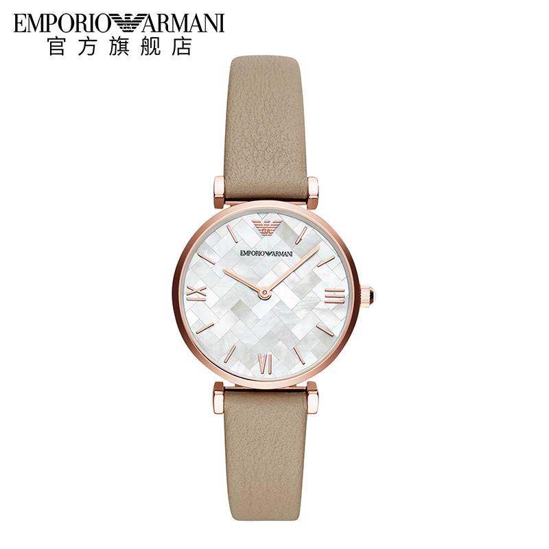 Armani阿玛尼新款皮带优雅女手表 正品时尚贝母防水石英表AR11111