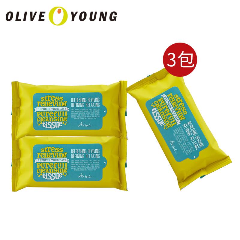 【韩国化妆品】Ariul解压舒缓镇静柠檬植物温和低刺激深层卸妆湿巾(15片)*3包