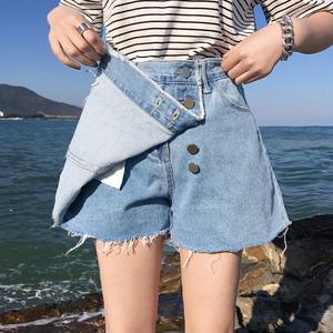 2018新款夏女chic高腰a字裙裤ins超火的港味牛仔半身裙学生短裙子