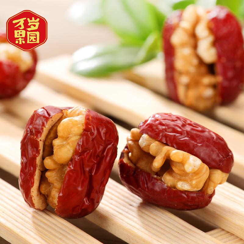 万岁果园大红枣夹核桃仁200g新疆特产和田玉枣子夹心枣加干果零食