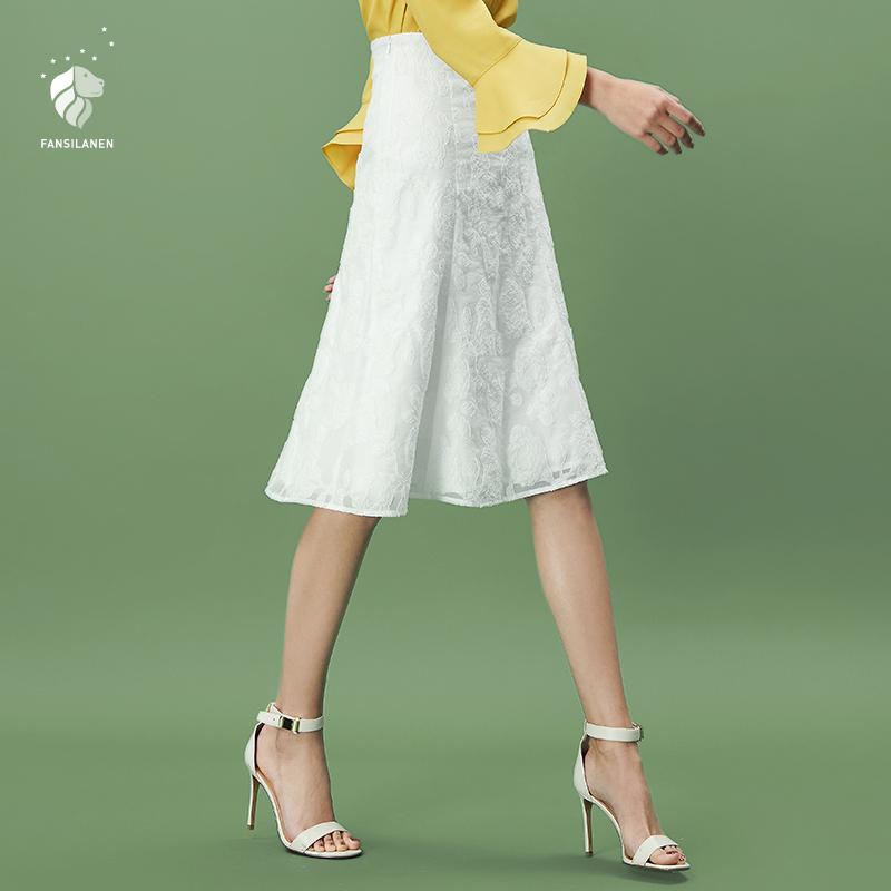 范思蓝恩白色高腰a字裙子女春秋装2018新款提花蕾丝半身裙中长款