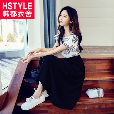 预售韩都衣舍2018韩版女夏装新款显瘦长裙气质雪纺连衣裙LU6558荃