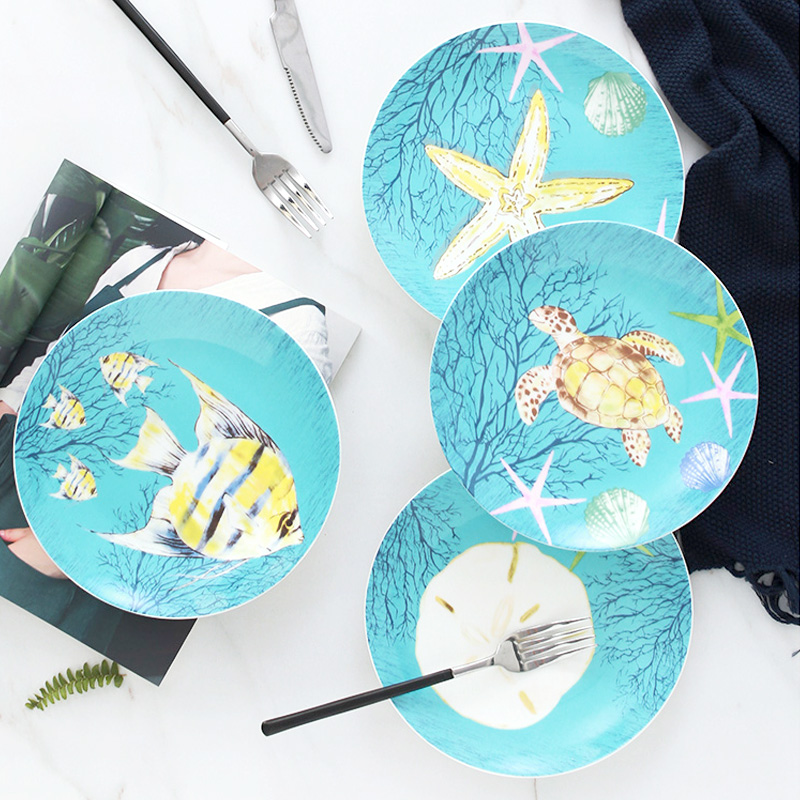Dish Dish Dish household ceramics tableware steak western snack Dish four lovely cartoon creative move plate