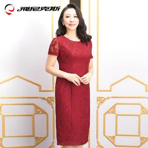 飞尼克斯2018红色优雅修身蕾丝中老年女装 高贵中长款婚礼妈妈装