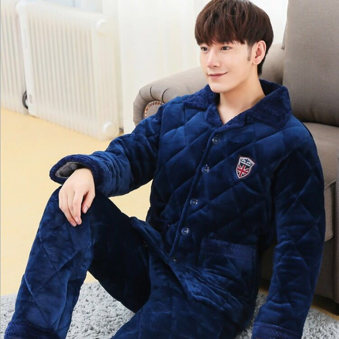 Winter quilted pajamas men thicker blue flannel home service men's jacket winter warm plus velvet coat