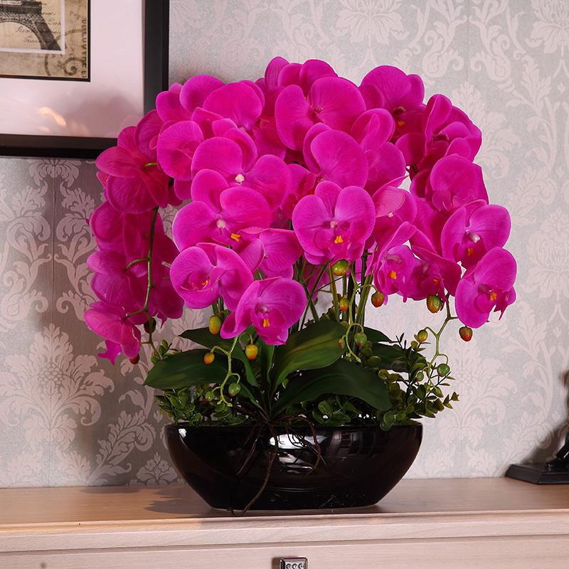 太熙 家居客厅假花盆栽装饰花 餐桌摆放绢花插花仿真花蝴蝶兰套装