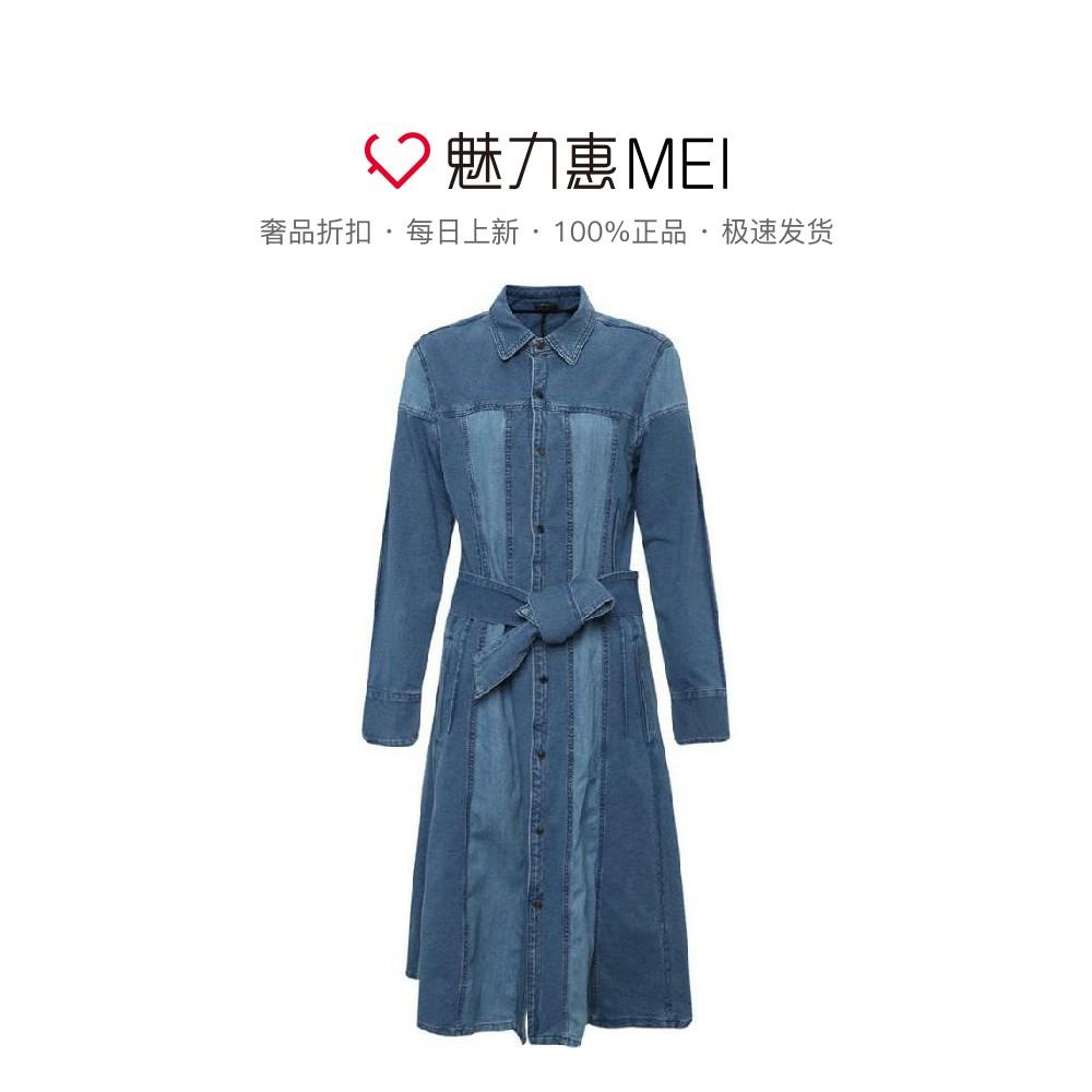 Initial 蓝色撞色拼接收腰系带饰翻领女士春秋长袖牛仔长款连衣裙