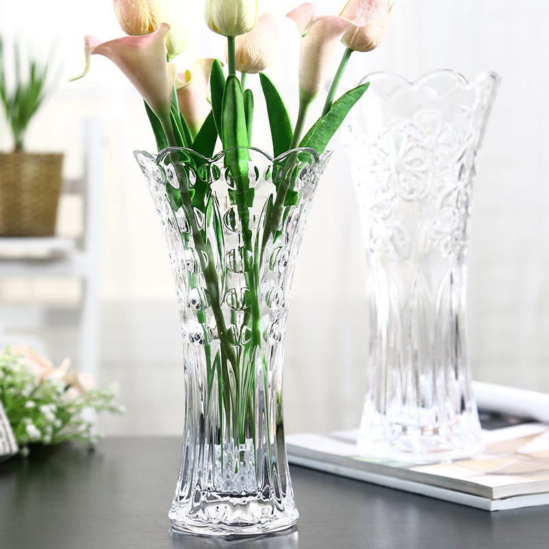 European Large Glass Transparent Vase Living Room Decoration Flower  Hydrophytic Bamboo Lily Dried Flowers Floor Ornaments