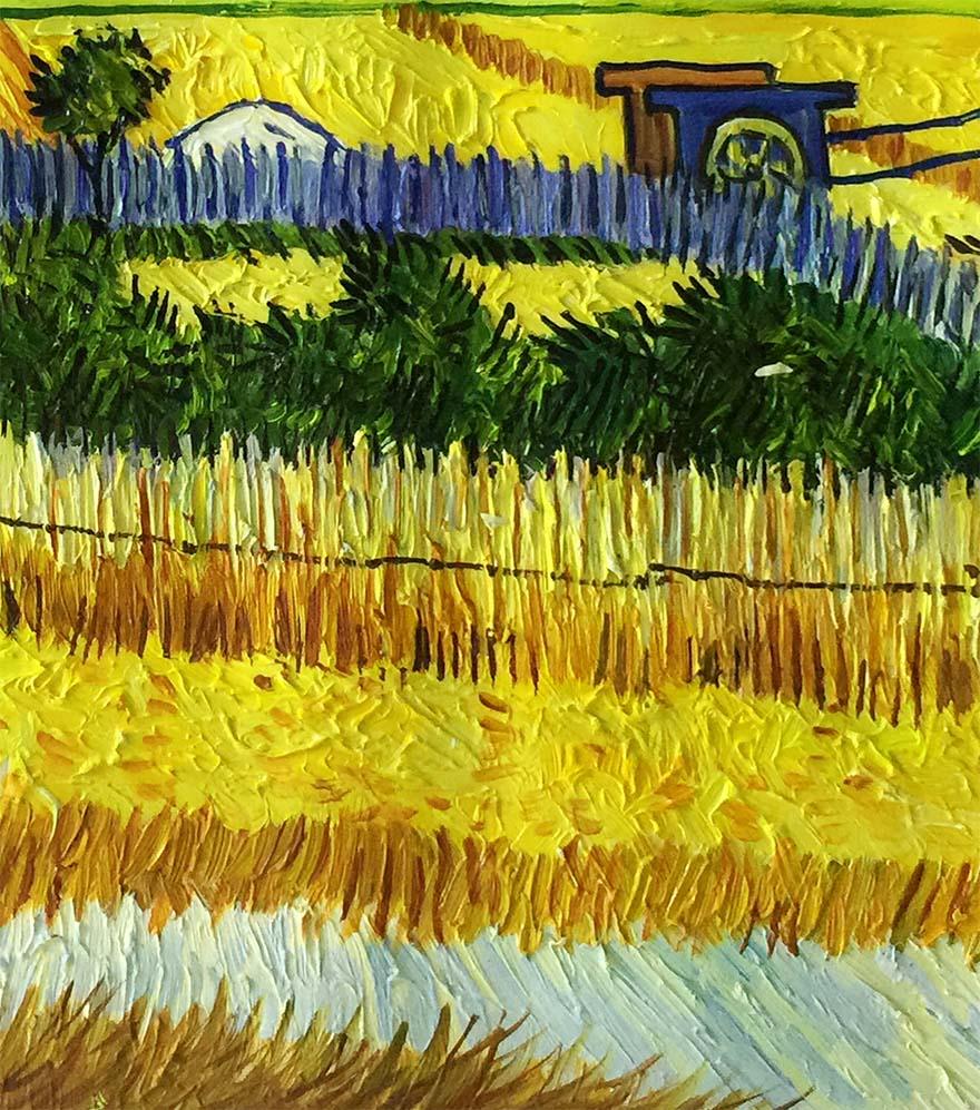 临摹 梵高 《田野的村庄》 布面油画