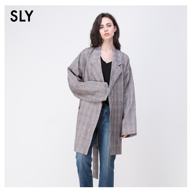 SLY2018春季新品休闲西装款腰带oversized外套女 030BSY30-0580