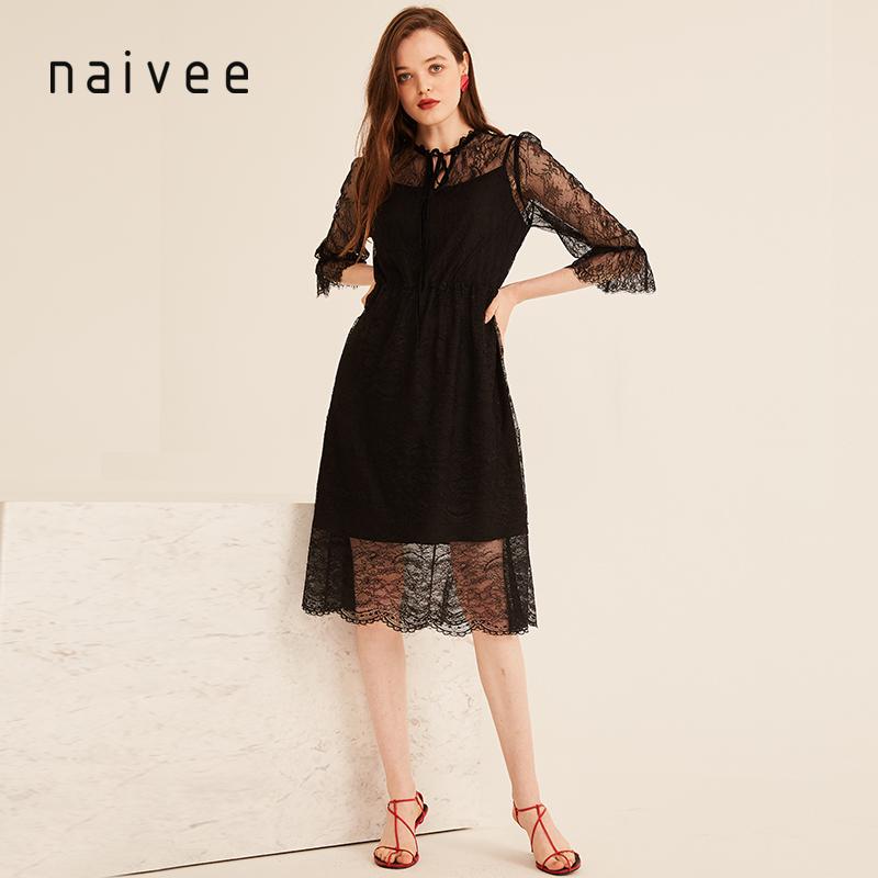 纳薇2018秋季新款领口系带喇叭袖黑色蕾丝透视中长款连衣裙女显瘦