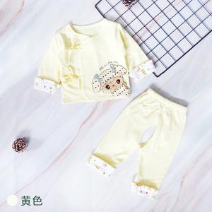 新生儿婴儿秋衣秋裤加绒宝宝 0-3个月 纯棉儿童套装保暖内衣男女