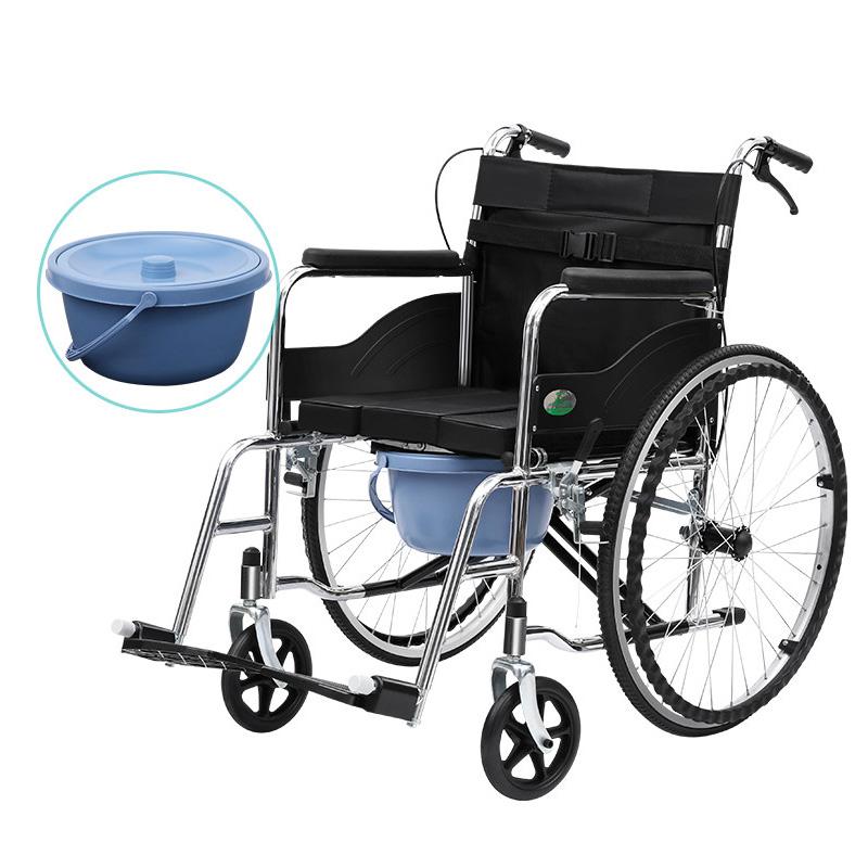 可孚多功能轮椅带坐便器老年人手推车折叠超轻便老人专用便携洗澡