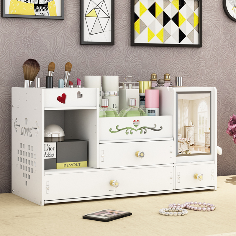 Extra large desktop cosmetic storage box plastic household with mirror skin care shelf rack dressing table cosmetic case