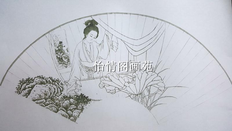 工笔画白描底稿仕女扇面白描稿山水画人物画花鸟画客厅画稿137