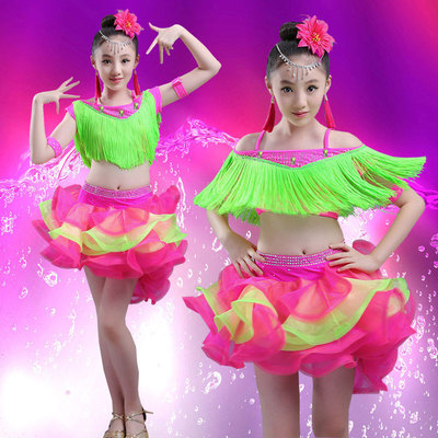Children's Latin dresses, girls, bright dances, tassels, Latin dresses, children's Latin dances, skirts, girls, dances, skirts.