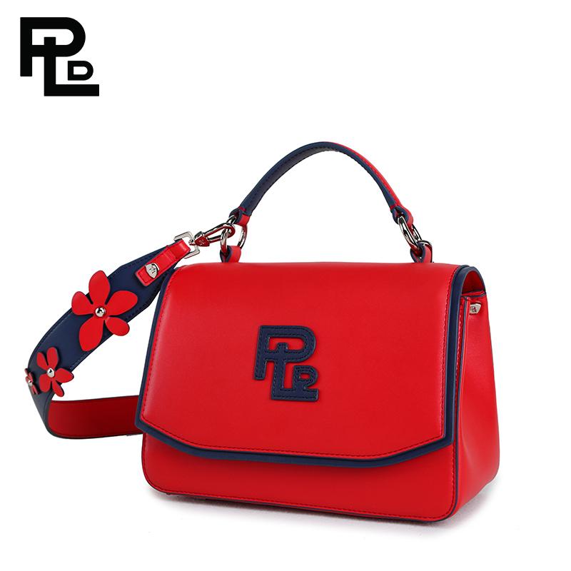PLD保兰德头层牛皮手提包女时尚立体花朵单肩斜挎包红色真皮包包