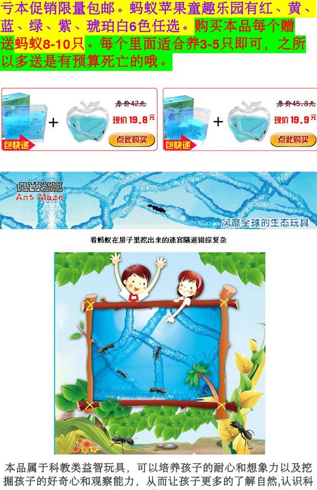 童益智玩具苹果蚂蚁乐园 蚂蚁工坊 幼儿园玩具蚂蚁窝蚁后送蚂蚁