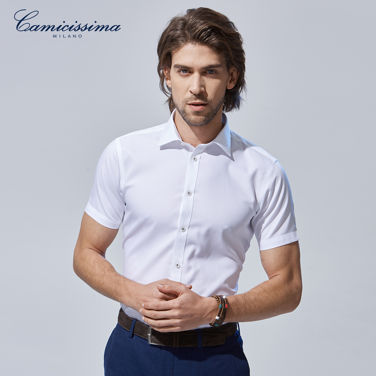 恺米切夏季青年男士商务休闲短袖衬衣 纯棉超修身白色免烫衬衫