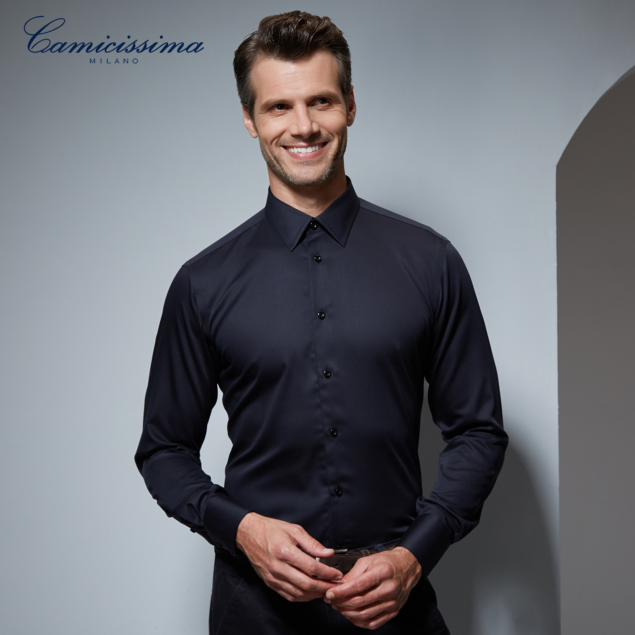 恺米切男士修身商务免烫蓝色长袖衬衫 秋冬款纯棉时尚衬衣