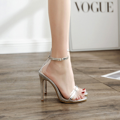 Patent Sexy Wedding Party Women Shoes Stiletto High Heel Ankle Strap Rhinestone Crystal Sandals's main photo