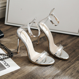 Patent Sexy Wedding Party Women Shoes Stiletto High Heel Ankle Strap Rhinestone Crystal Sandals