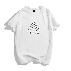 夏季男士潮流短袖T恤日系潮牌半袖t恤男纯棉宽松上衣白色打底体恤