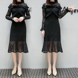 2019欧洲站新款蕾丝连衣裙修身舒适打底裙9050实拍