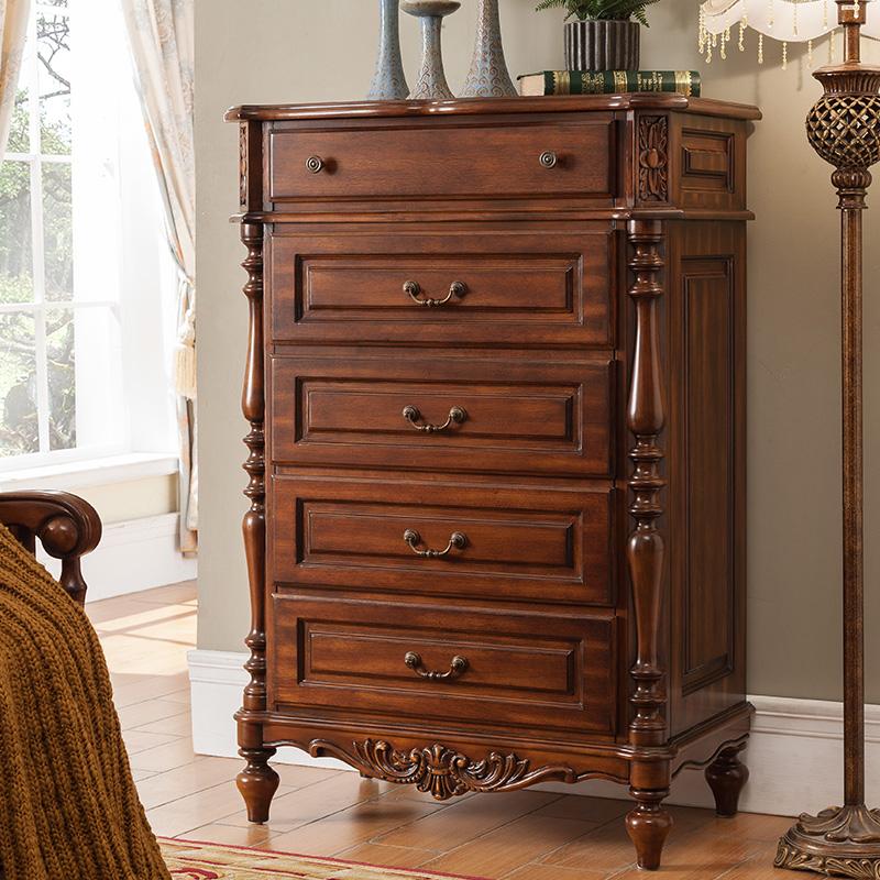 美特屋 美式实木雕花五斗柜复古欧式抽屉柜储物柜卧室斗橱R603-2