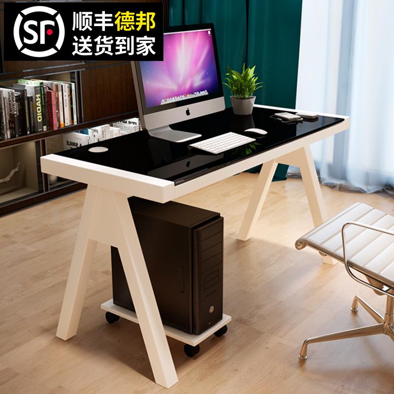简约现代钢化玻璃电脑桌台式家用办公桌简易学习书桌写字台省空间