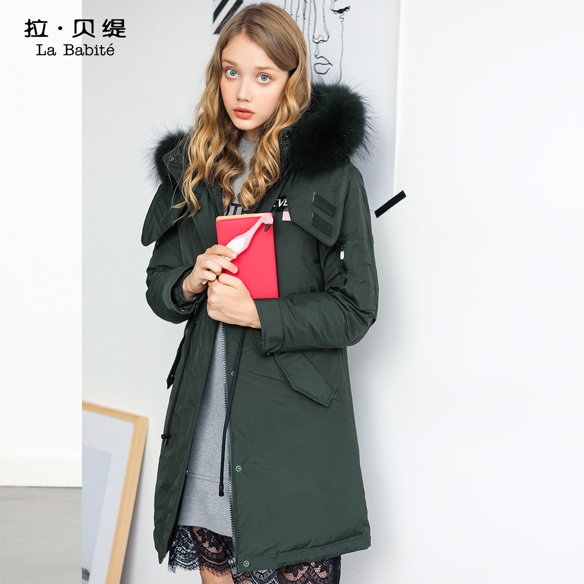 派克羽绒服中长款拉夏贝尔拉贝缇2018冬季新款韩版大毛领外套女士