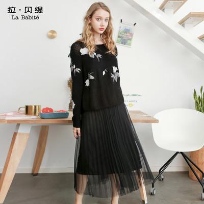 時尚套裝女士2018新款秋冬季歐洲站氣質名媛毛衣裙子時髦兩件套潮