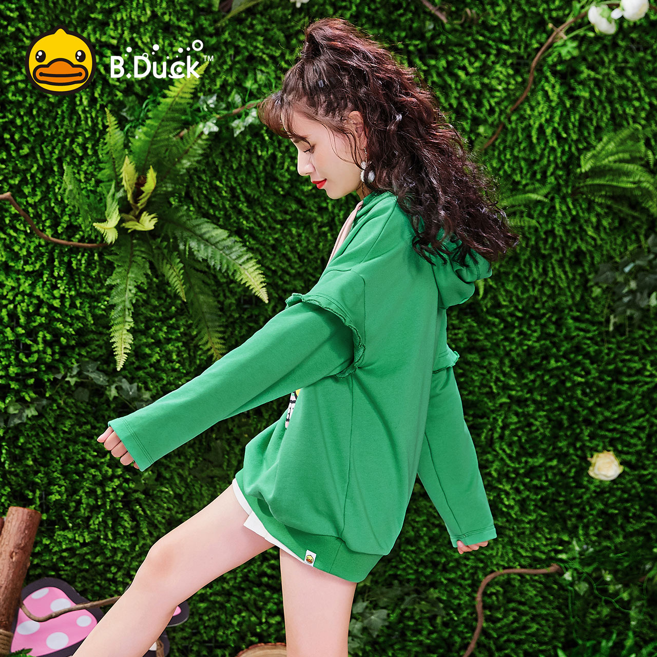 BDuck小黄鸭卫衣女2018秋装新款韩版宽松ins超火木耳边长袖假两件