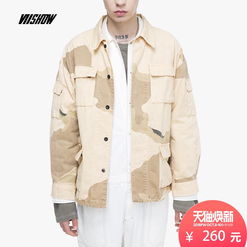 VIISHOW2018春秋款夹克男 方领男士迷彩外套潮 休闲学生装上衣