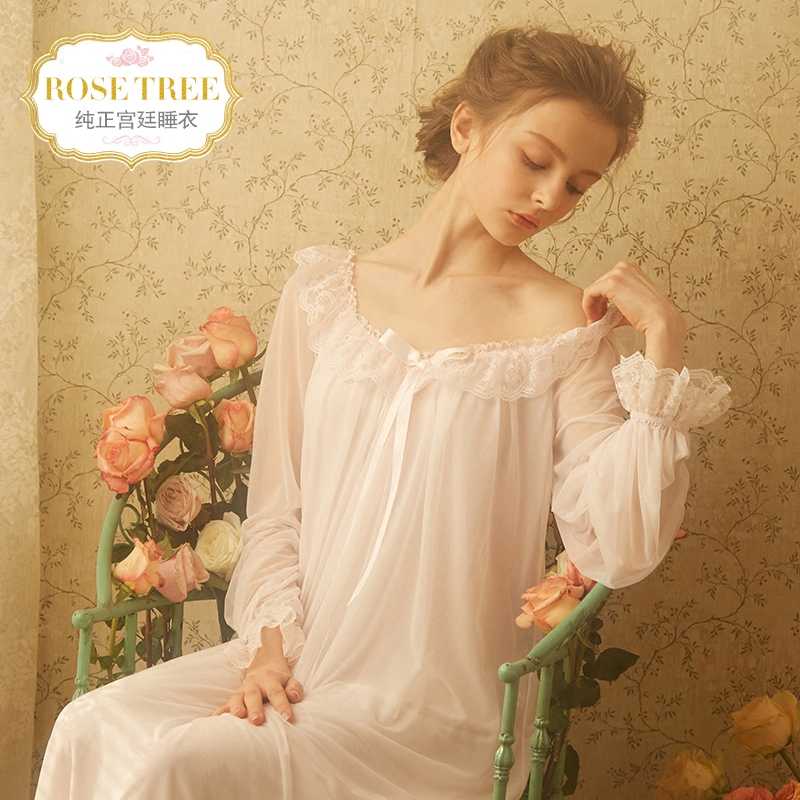 RoseTree Palace sleep skirt spring and summer retro lace home service  Princess Wind Ice Silk sexy 2b6763754