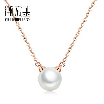 【可抵100元券】潮宏基珠宝 萌宠 红18K珍珠坠链