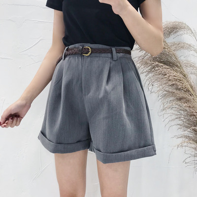 Curl wide leg pants female spring and summer 2018 new Korean wild chic wind high waist shorts student casual pants tide