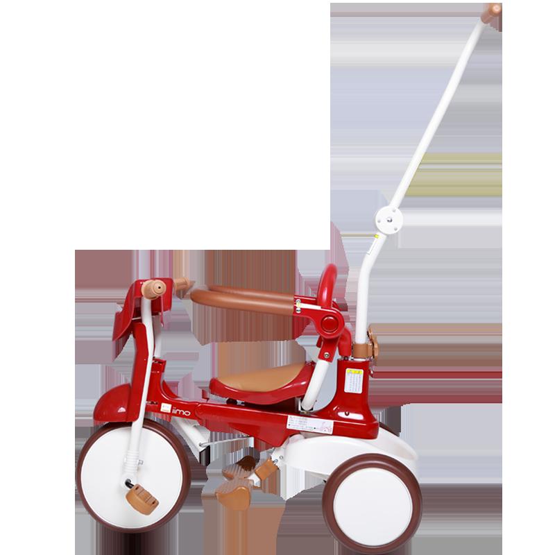 日本 iimo二代进口儿童可折叠免安装三轮车1-3岁宝宝童车脚踏车