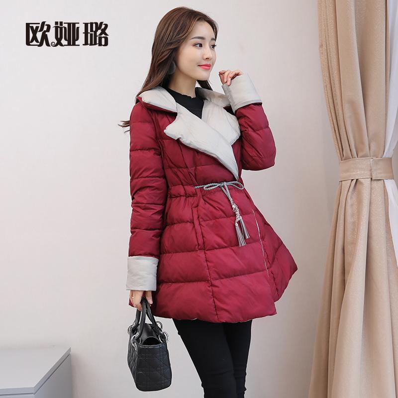 羽绒服女装中长款秋冬季2017新款韩版时尚宽松保暖外套