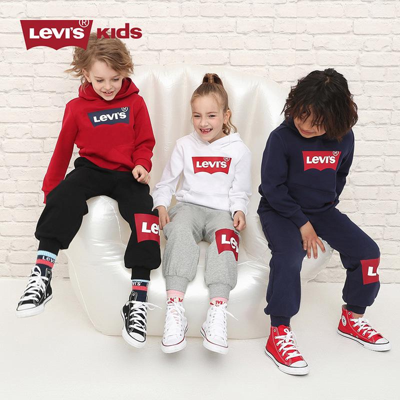 2021秋冬新款,Levi's 李维斯 儿童加绒连帽卫衣长裤套装 3色