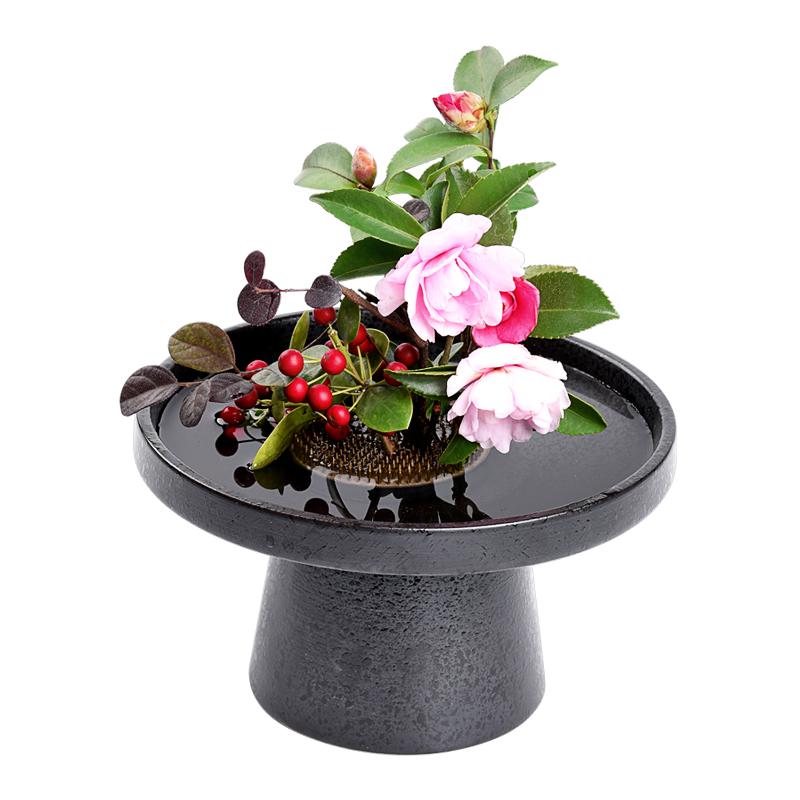 陶瓷创意剑山插花器禅意中式高足插花器日式花道茶席插花盘小原流