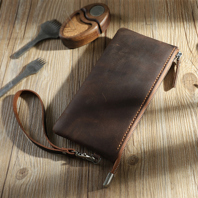 Old Street memory men's leather zipper wallet DIY leather handbag retro style female clutch bag slim long section