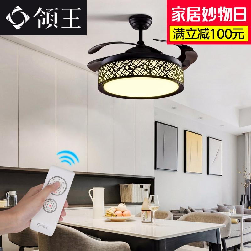 领王风扇灯餐厅现代电风扇客厅时尚电扇灯卧室家用鸟巢隐形吊扇灯