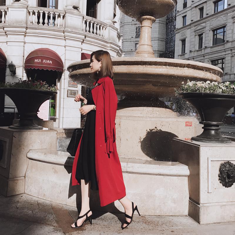 大英自制 2017春秋季新款韩版红色风衣女中长款气质百搭显瘦外套