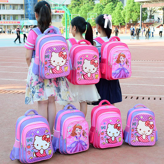 Primary school bag female 1-2-3-6 first grade children's school bag girl girl girl burden reduction ridge backpack