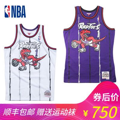 NBA复古球衣Mitchell Ness刺绣SW版猛龙队麦迪MN魔术蓝暗星篮球服
