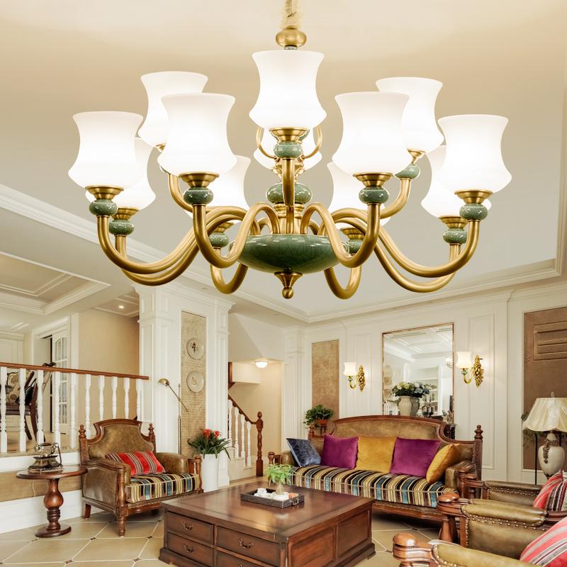 美式吊灯简欧全铜客厅灯具现代别墅欧式吊灯卧室餐厅纯铜陶瓷吊灯