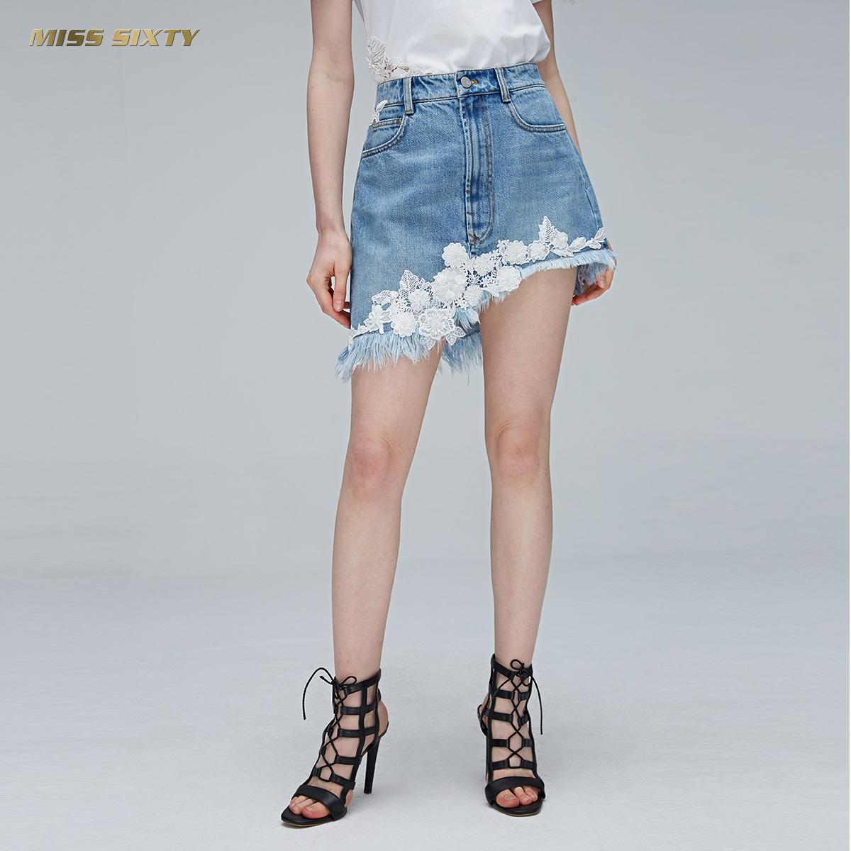 B Miss Sixty2018新款夏季绣花短裙不规则牛仔裙半身裙女