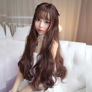 Long hair wig female air bangs big wave corn hot Korean noodles volume long hair natural pear